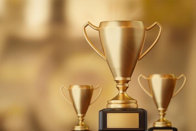 Золотой трофейный кубок за первое место и награда за успех для победителя на фоне соревнования за победу с целью достижения. 3d-рендеринг.