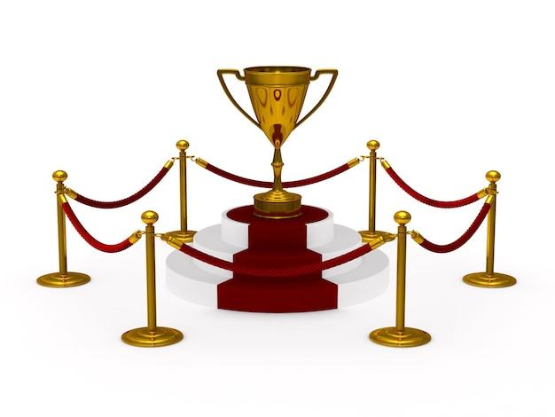 表彰台に金のトロフィーカップ。空白。分離された3dイラスト