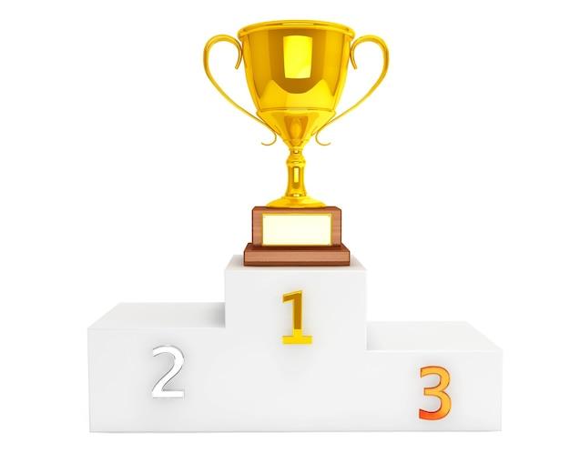 Золотой трофей над пьедесталом на белом фоне