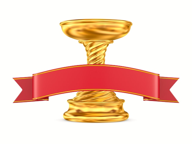 Gold trophy cup and red ribbon on white background. isolated 3d illustration