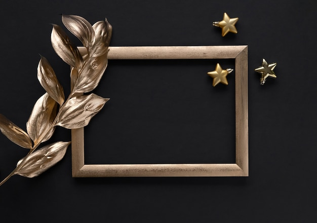 Gold tropical leaves and frame