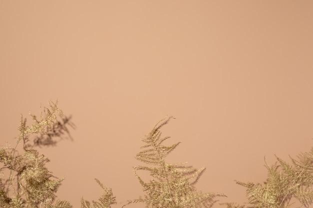 Золотые тропические листья на бежевом фоне. плоская планировка, вид сверху.