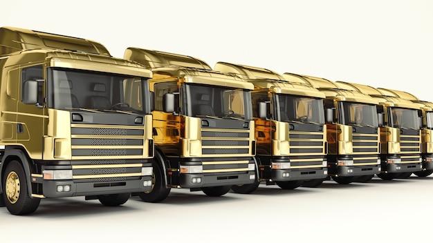 Золотой грузовик 3d рендеринг