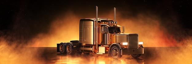 황금 배경 3d 렌더링에 골드 트럭