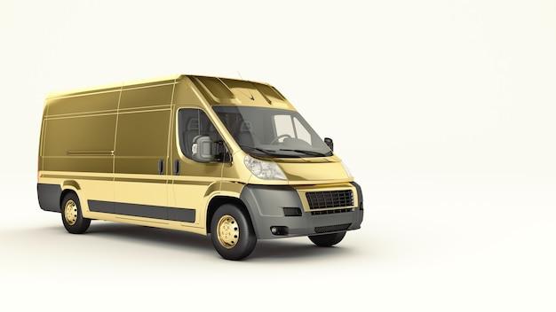 Gold truckfast shipping 3d rendering