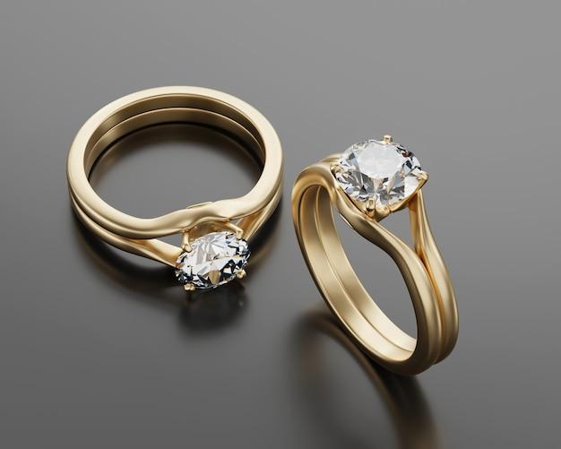 ゴールドツーダイヤモンドリング光沢のある背景に配置、3dレンダリング