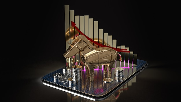 The gold unicorn and chart on tablet for start up business content 3d rendering.