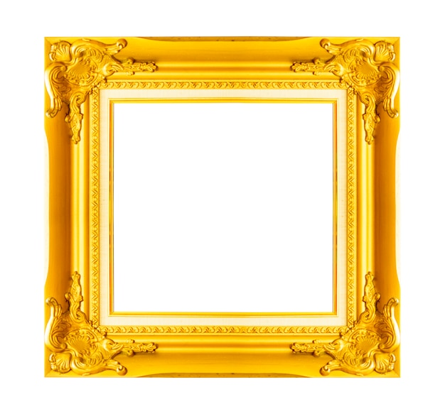 Gold vintage picture and photo frame isolated on white background.
