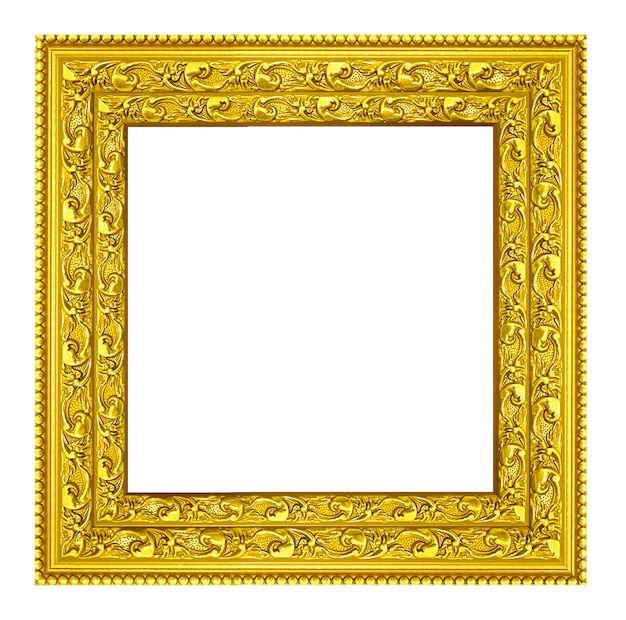 Gold vintage picture and photo frame isolated.
