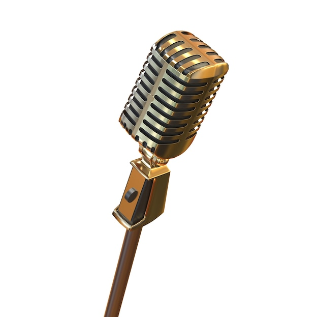 Gold vintage retro microphone isolated on white metal speech device illustration for stand up