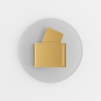 Золотой значок бумажника с банковскими картами. 3d-рендеринг серой круглой кнопки, элемент интерфейса ui ux.