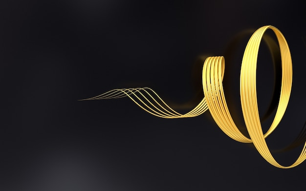 Gold wave shape geometric pattern abstract background 3d rendering