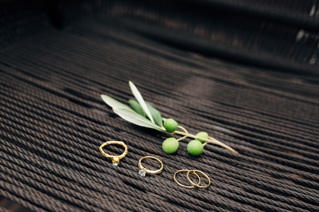 Gold wedding rings of the bride and groom engagement ring and foil ring with olive tree sprig