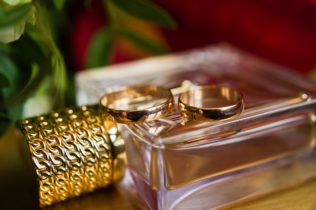 Gold wedding rings, close up.