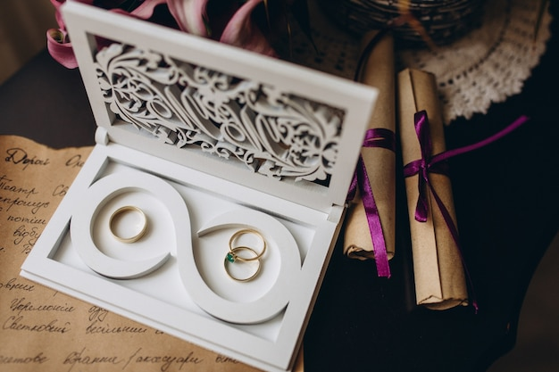 Gold wedding rings in a glass box
