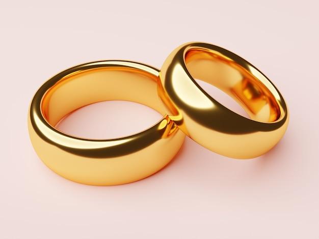 핑크에 고립 된 골드 결혼 반지