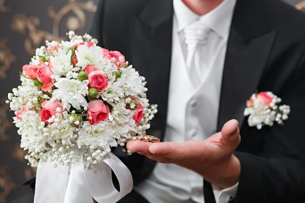新郎の手に金の結婚指輪