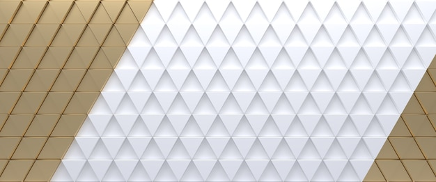 Gold and white tiled triangular abstract background. extruded triangles surface. 3d render.