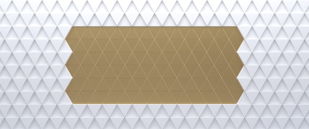 Gold on white tiled triangular abstract background. extruded triangles surface. 3d render.