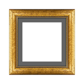 Gold wooden frame for picture or photo isolated on a white background with clipping path