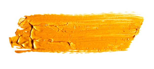Gold yellow brush stroke isolated on white background. gold abstract stroke. colorful watercolor brush stroke.