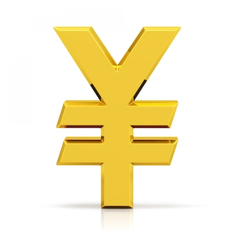 Gold yen symbol. japanese yen sign isolated on white