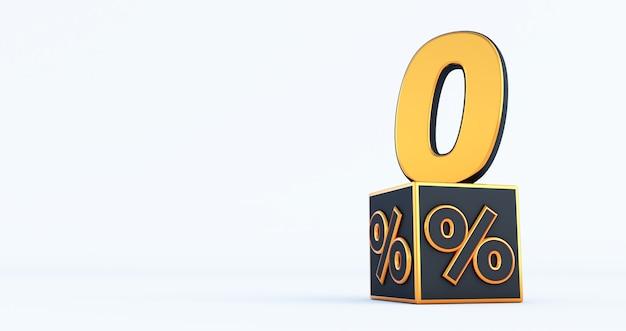Золотой ноль 0 процентов число с процентами черных кубиков, изолированные на белом фоне. 3d визуализация
