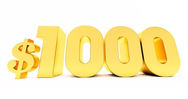 Золотой символ цены 1000 $ одна тысяча, изолированные на белом фоне.