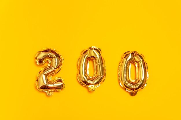 ゴールデン200ナンバーバルーン。箔とラテックスの風船。ヘリウム風船。パーティー、誕生日、記念日、結婚式を祝います。