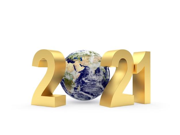 Золотой 2021 год с земным шаром