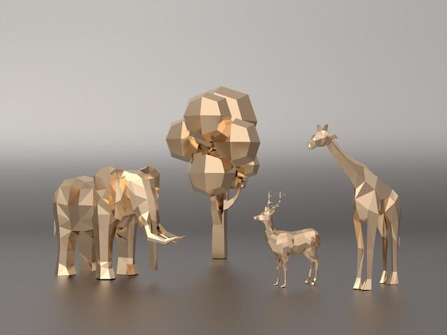 Golden 3d model low polygon of elephants, deer, giraffe.