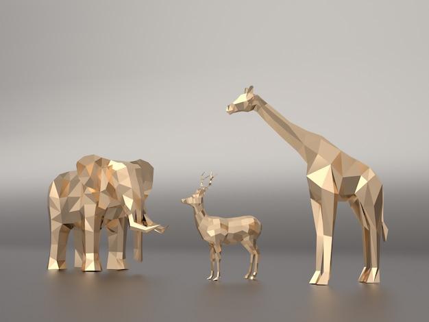 Golden 3d model low polygon  elephants, deer, giraffe.