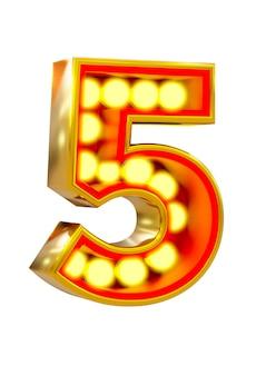 Золотой 3d номер пять с светящейся лампочкой на белой поверхности.