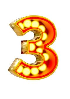 Золотой 3d номер три с светящейся лампочкой на белой поверхности.