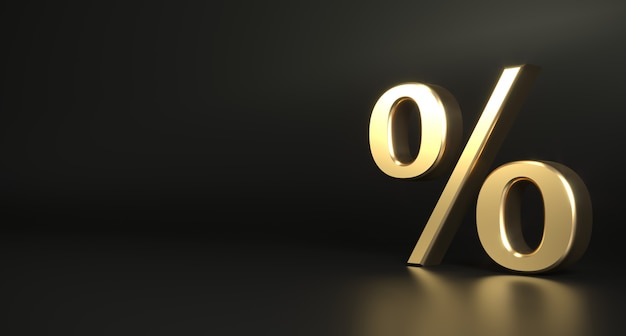Golden 3d percent sign dark background