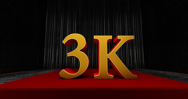 Golden 3k or 3000 thank you, web user thank you celebrate of subscribers or followers and likes, 3d render