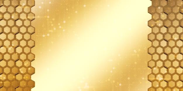金色の抽象的な六角形金色のハニカム壁
