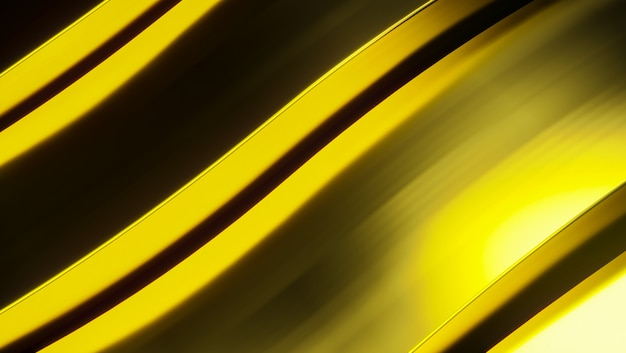 Golden abstract metal background. futuristic 3d render illustration. gold metal  on a white surface. steel texture. yellow background. shinny metal.