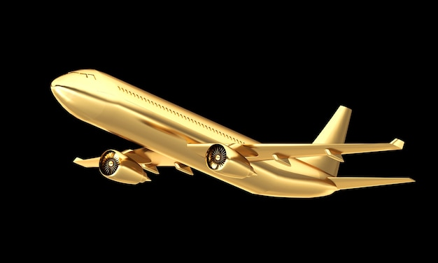 Golden aeroplane isolated. expensive travel concept.