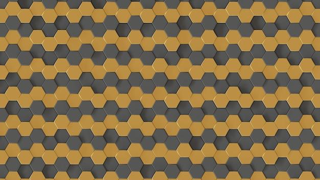 황금과 회색 육각형 벌집 패턴 3d 렌더링