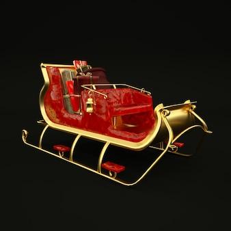 블랙에 황금과 빨간 크리스마스 산타 썰매 그림