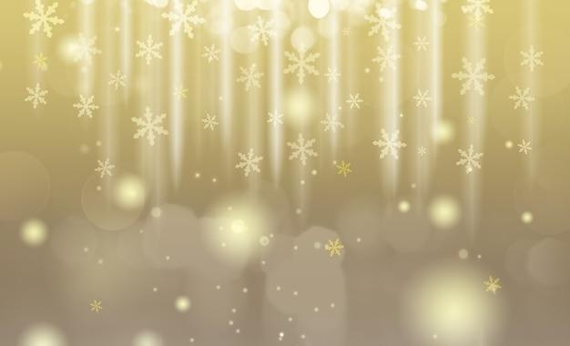 きらびやかな雪片と金と銀のクリスマスの背景