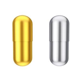 흰색 바탕에 황금과 은색 의료 제약 약물 캡슐 알약. 3d 렌더링