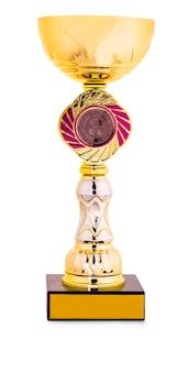 Золотой и серебряный трофей, изолированные на белом фоне