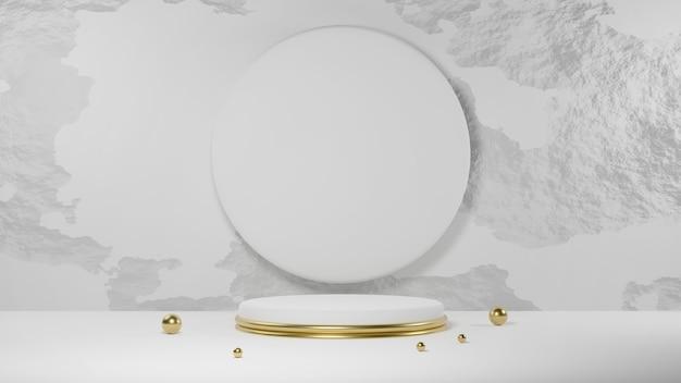 コンクリートの壁に円のある金色と白の円の表彰台