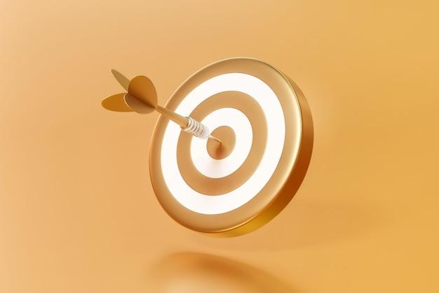 Золотая стрелка нацелена на мишень для дартс или цель успеха в бизнесе