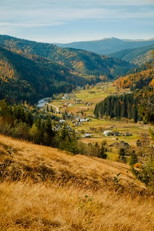 Golden autumn in carpathian mountain village landscape