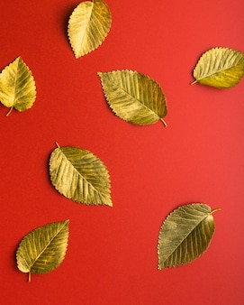 Золотые осенние листья на красном фоне осенняя концепция вид сверху осенних листьев в золотой краске на р ...
