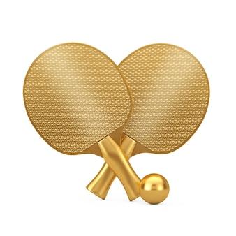 Золотая награда теннисные ракетки и мяч для пинг-понга на белом фоне. 3d рендеринг
