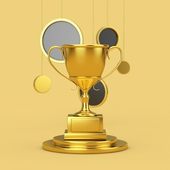 Золотой трофейный кубок на золотом постаменте с висячими абстрактными кругами на желтом фоне. 3d рендеринг